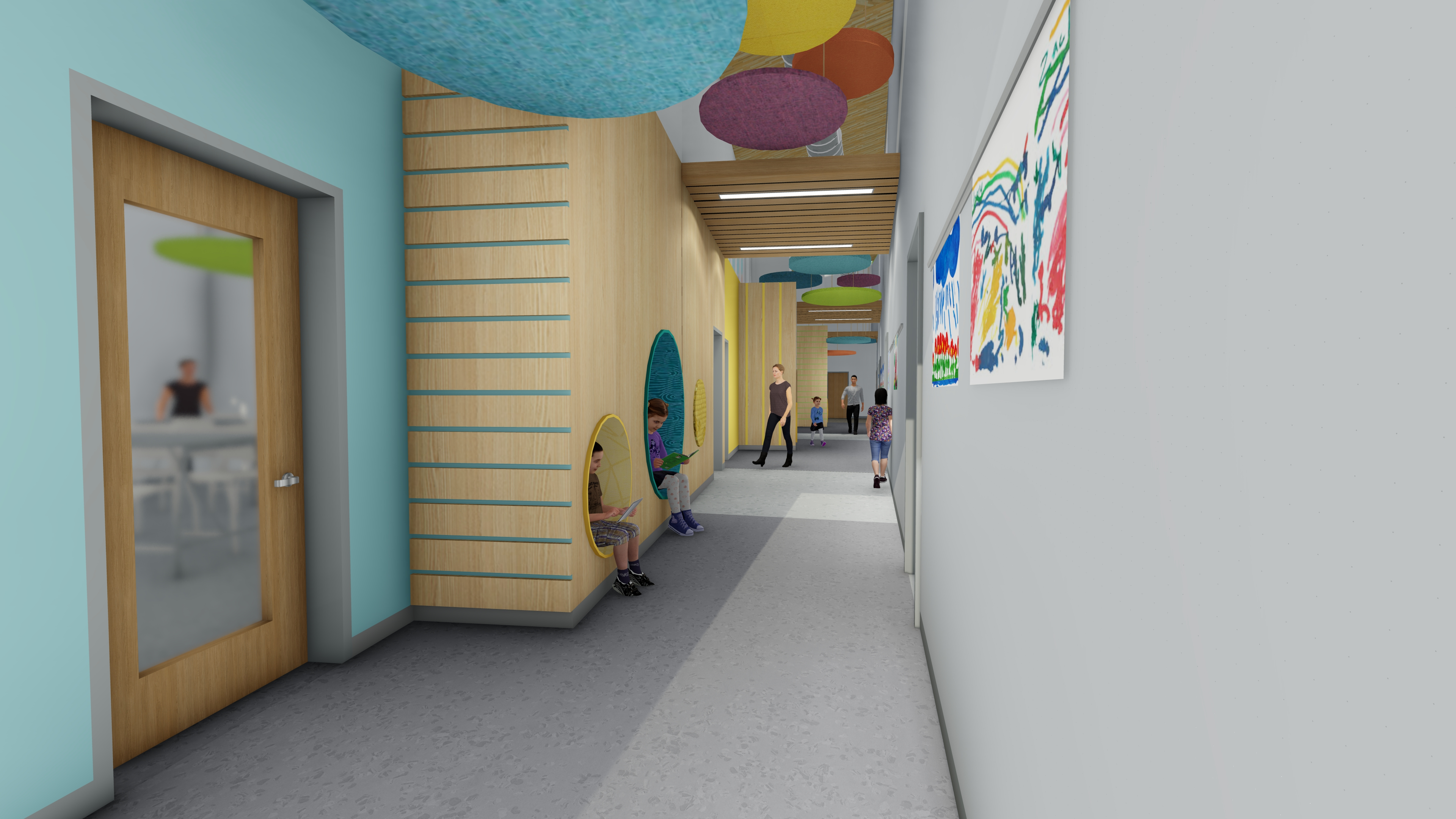 The Maine Behavioral Healthcare (MBH) Center of Excellence in Autism and Developmental Disorders' hallway with seating nooks and colorful artwork