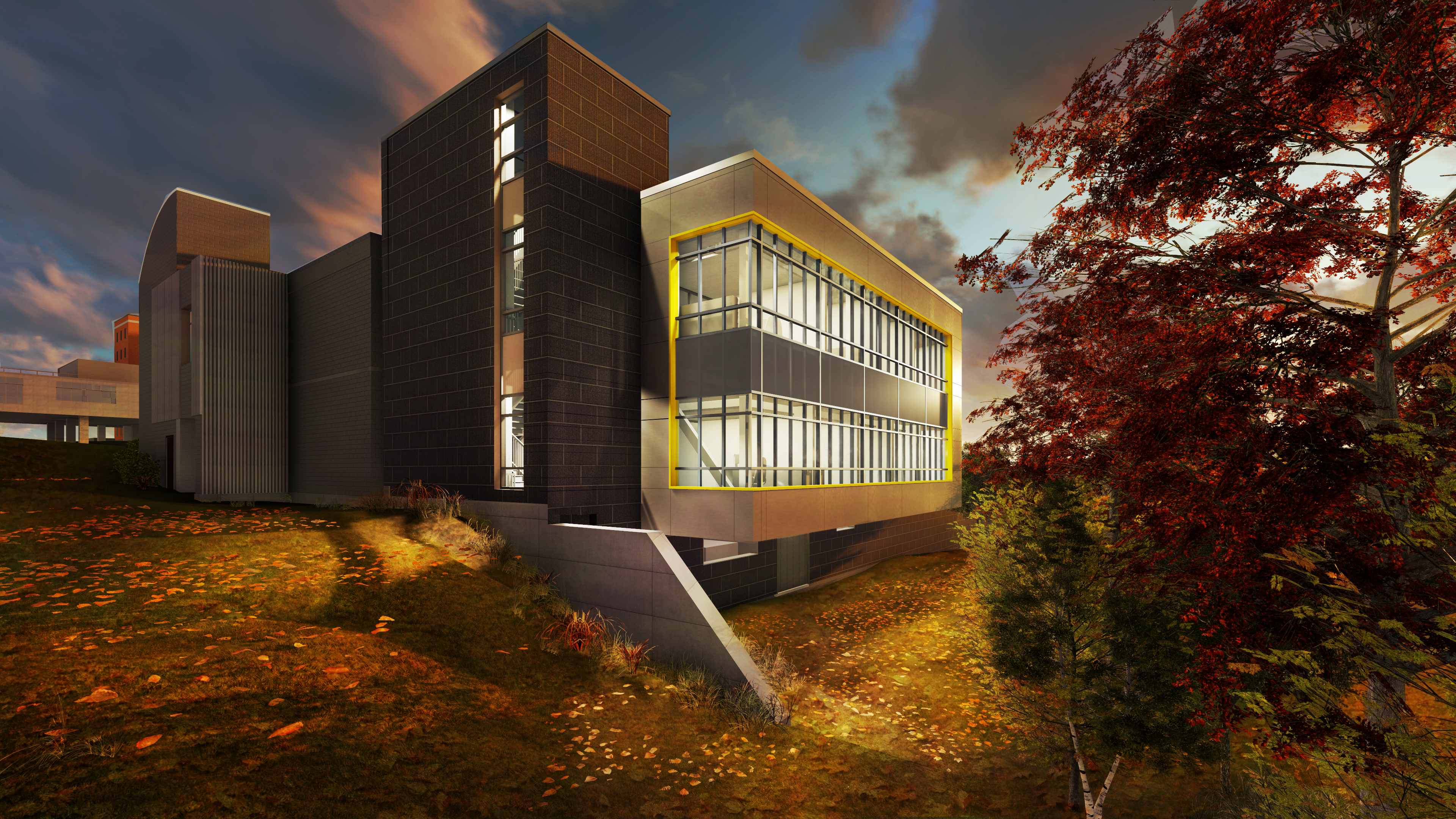 The Center for Neurorestoration and Neurotechnology Research exterior in fall with brick accents and touches of yellow