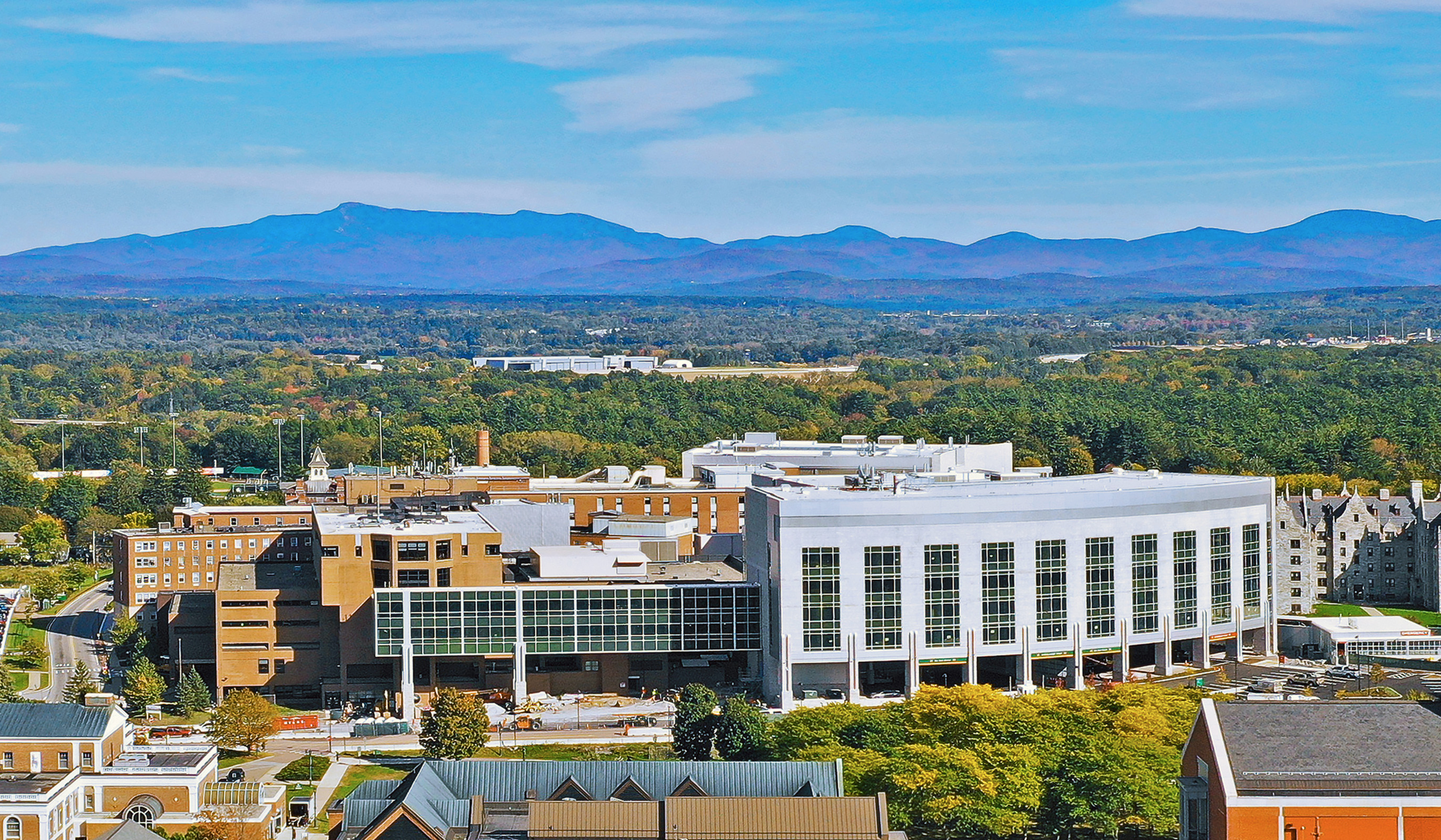 University of Vermont Medical Center aerial shot with views of the mountains and Burlington