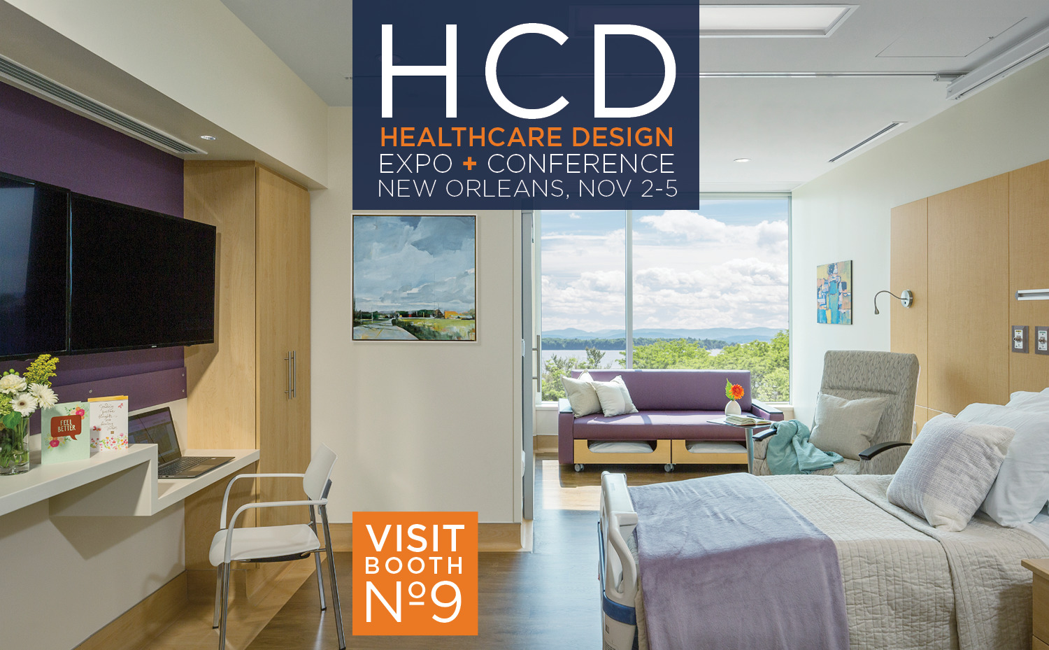 Hospital patient room with bed, couch, chair, exam desk and television against the HCD logo