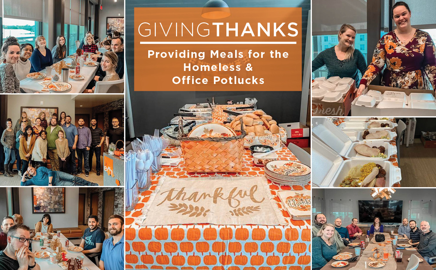 Members of the E4H Fort Worth team eating a Thanksgiving meal and boxing up food to donate to those in need