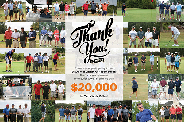 Thank you graphic featuring various groups of people playing golf to benefit Youth World Dallas